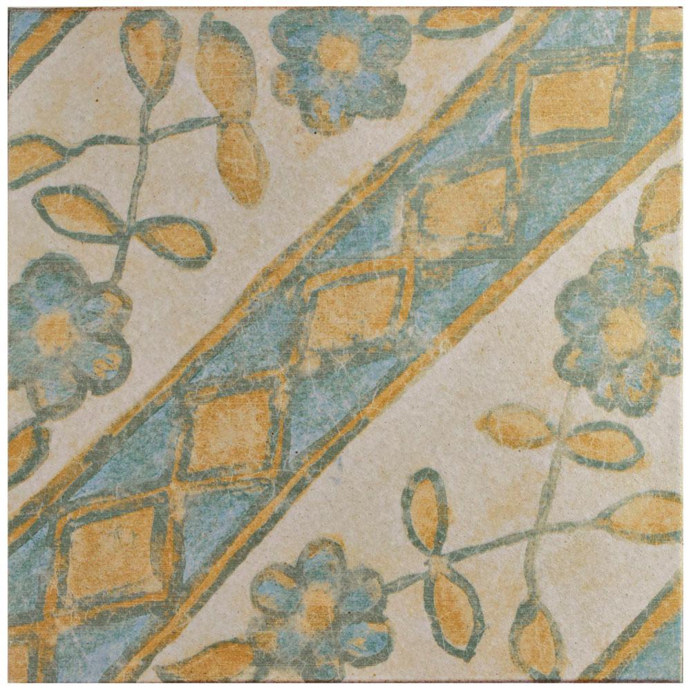 Klinker Retro Blanco Aubrieta Encaustic 12-3/4 in. x 12-3/4 in. Ceramic Floor and Wall Quarry Tile