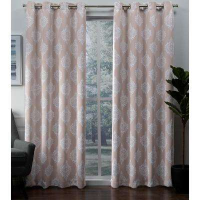 Medallion 52 in. W x 96 in. L Woven Blackout Grommet Top Curtain Panel in Blush (2 Panels)