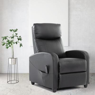 Recliner Chair Modern Massage Sofa for Living Room PU Leather Black 1 Piece