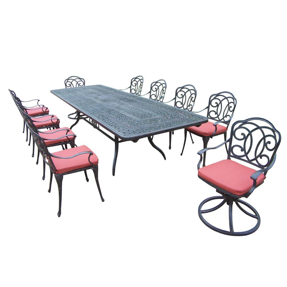 Marvelous 11 Piece Aluminum Outdoor Dining Set With Red Cushions Theyellowbook Wood Chair Design Ideas Theyellowbookinfo