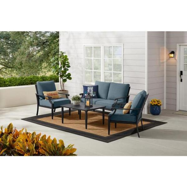Braxton Park 4-Piece Black Steel Outdoor Patio Conversation Deep Seating Set with Sunbrella Denim Blue Cushions