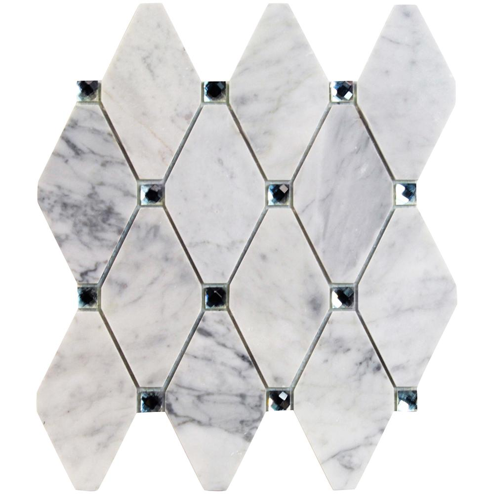 Mirage Lozenge Asian Statuary Marble and Glass Wall Mosaic Tile -