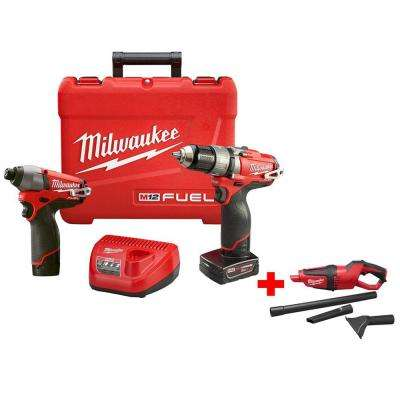 M12 12-Volt FUEL Lithium-Ion Brushless 1/2 in. Hammer Drill/Impact Combo Kit with Free M12 Cordless Vacuum