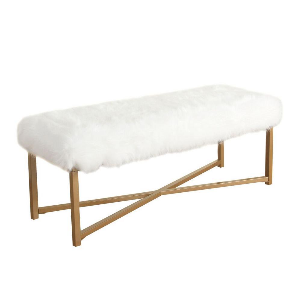 Faux Fur White Rectangle Bench