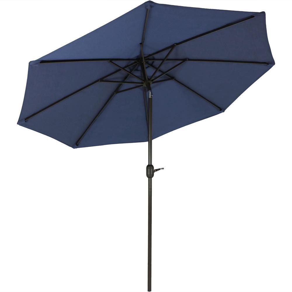9 ft. Fade Resistant Aluminum Market Auto Tilt Patio Umbrella in Navy Blue