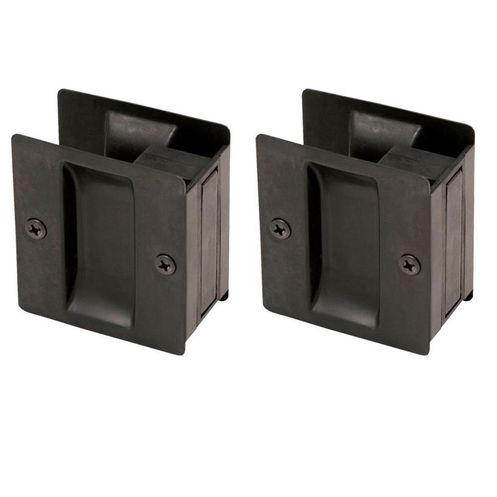 Oil Rubbed Bronze Pocket Door Passage Hardware (2 per Pack)