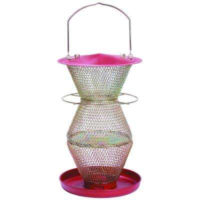 3-Tier Standard Red and Brass Wild Bird Feeder
