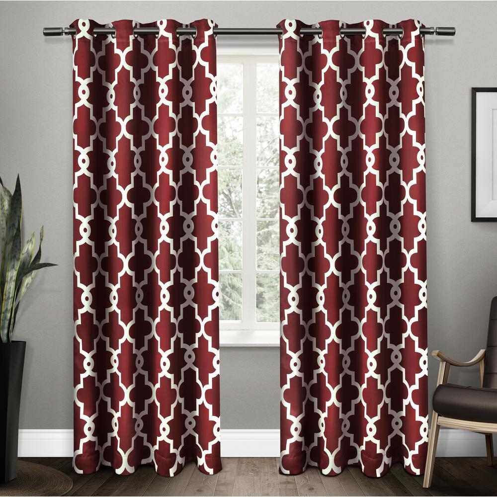 Ironwork Burgundy Sateen Woven Blackout Grommet Top Window Curtain