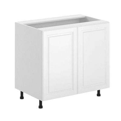 Birmingham Ready to Assemble 36 x 34.5 x 24.5 in. Full Height Base Cabinet in White Melamine and Door in White