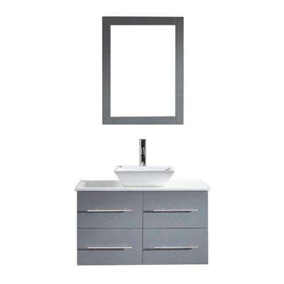Marsala 36 in. W Bath Vanity in Gray with Stone Vanity Top in White with Square Basin and Mirror and Faucet