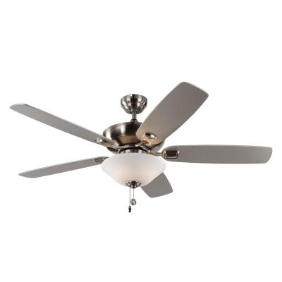Colony Max Plus 52 in. Indoor/Outdoor Brushed Steel Ceiling Fan with Light Kit