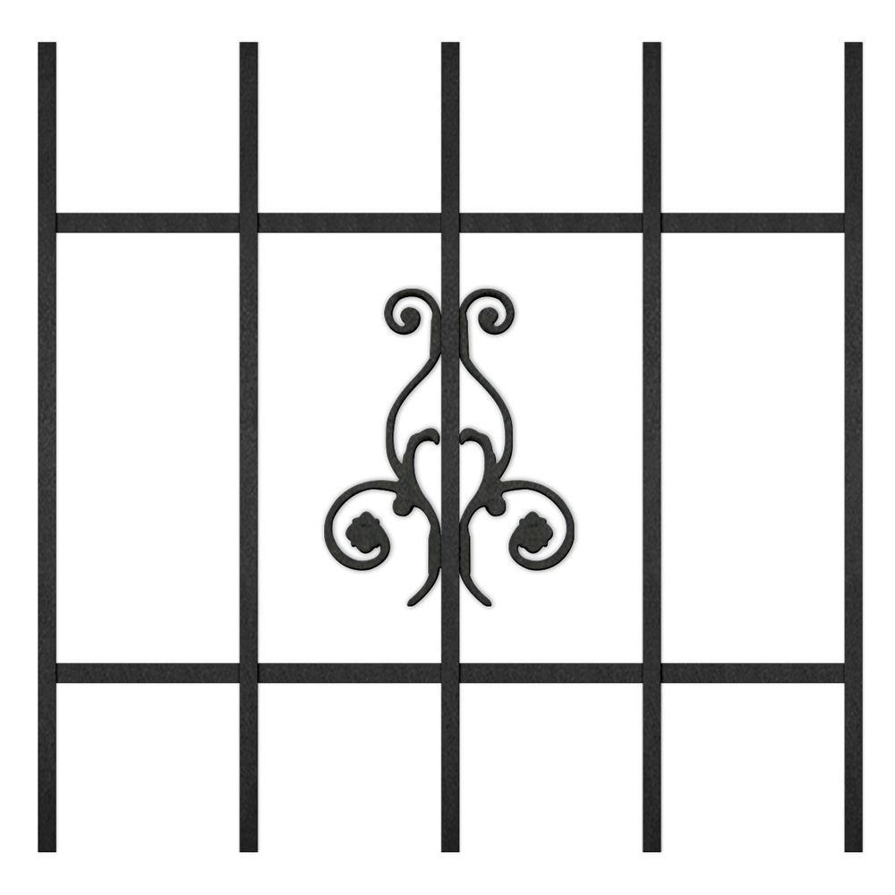 Unique Home Designs La Entrada 24 in. x 24 in. Black 5-Bar Window Guard-DISCONTINUED