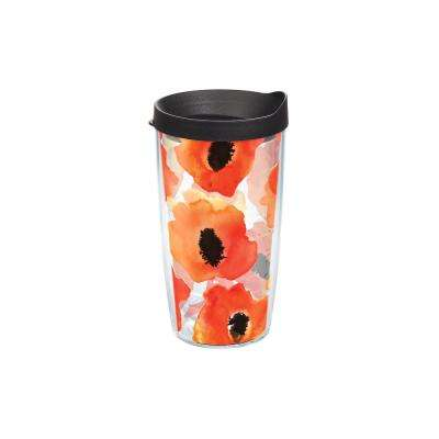Watercolor Poppy 16 oz. Clear Tumbler with Lid