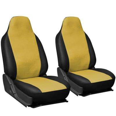 Polyurethane Seat Covers 21.5 in. L x  21 in. W x 31 in. H  Seat Cover Set in Yellow and Black (2-Piece)