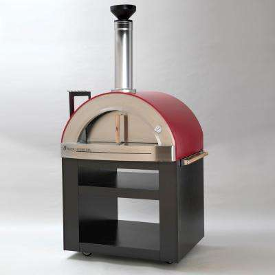 Torino 300 24 in. x 32 in. Wood Burning Oven with Cart in Red