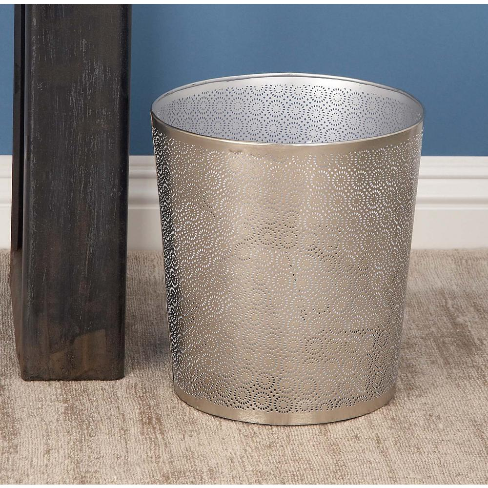 10 in. Gray Cylindrical Metal Waste Can with Lattice Pattern Cut-Outs