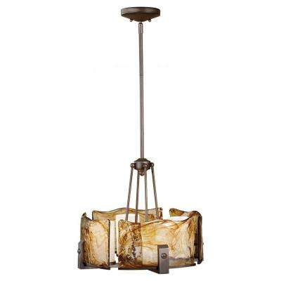 Aris 4-Light Roman Bronze 1-Tier Chandelier with Glass Shade