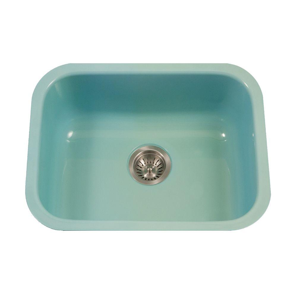 HOUZER Porcela Series Undermount Porcelain Enamel Steel 23 In. Single Bowl  Kitchen Sink In Mint