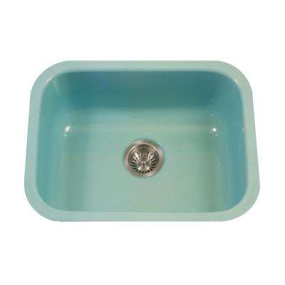 Porcela Series Undermount Porcelain Enamel Steel 23 in. Single Bowl Kitchen Sink in Mint