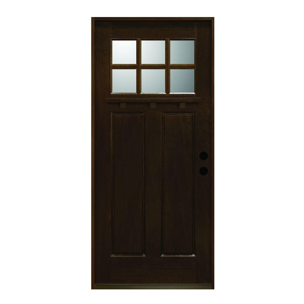 Main door 36 in x 80 in craftsman collection 6 lite for Black wooden front door