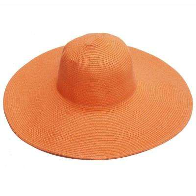 Wide Brim Orange Ladies Hat