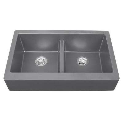 Apron Front Quartz Composite 34 in. Double Bowl Kitchen Sink in Grey