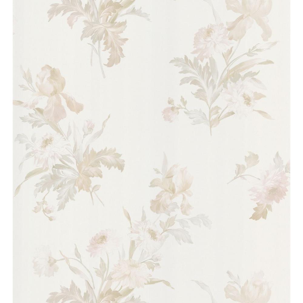 Kitchen and Bath Resource II White Iris Floral Wallpaper Sample