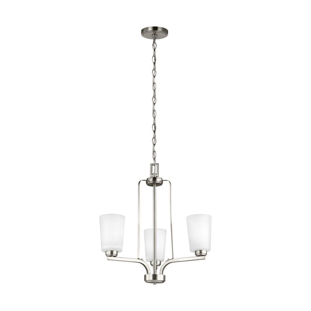 Franport 3-Light Brushed Nickel Chandelier