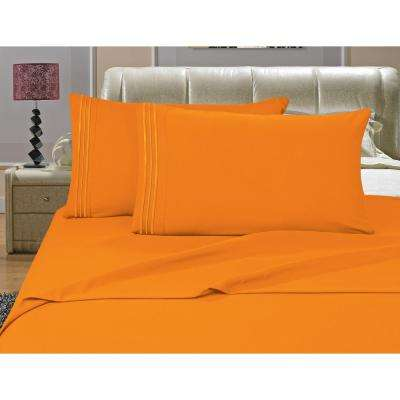 1500 Series 4-Piece Orange Triple Marrow Embroidered Pillowcases Microfiber King Size Bed Sheet Set