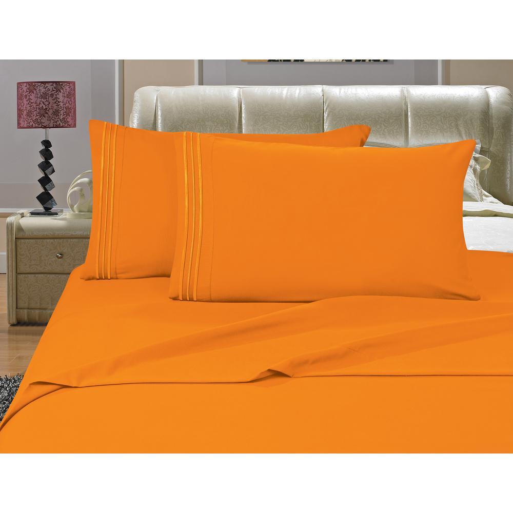 1500 Series 4-Piece Orange Triple Marrow Embroidered Pillowcases Microfiber King Size Bed Sheet Set