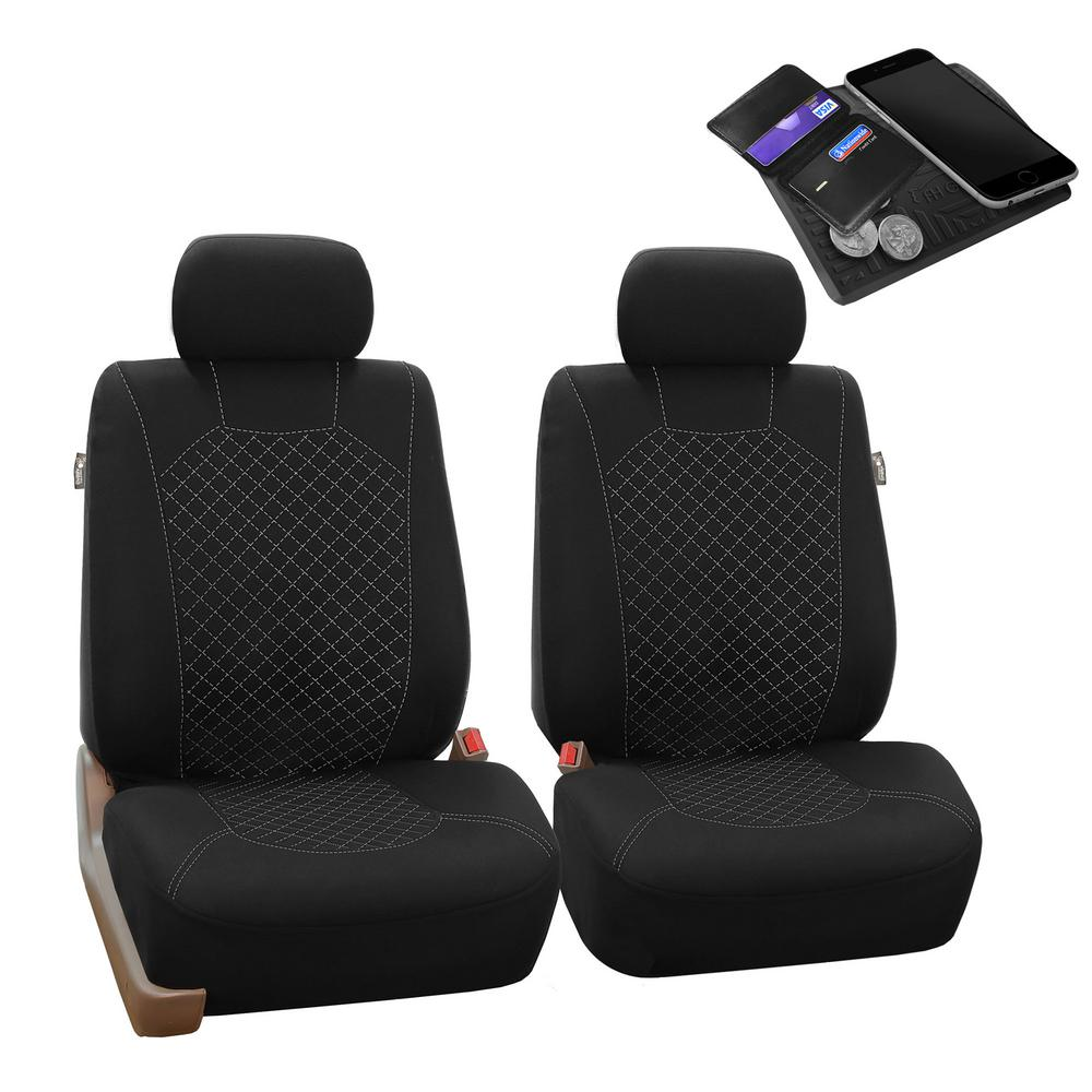 Quality Black Leather Look Seat Covers Split Rear /& Head Rests Car Adjustable