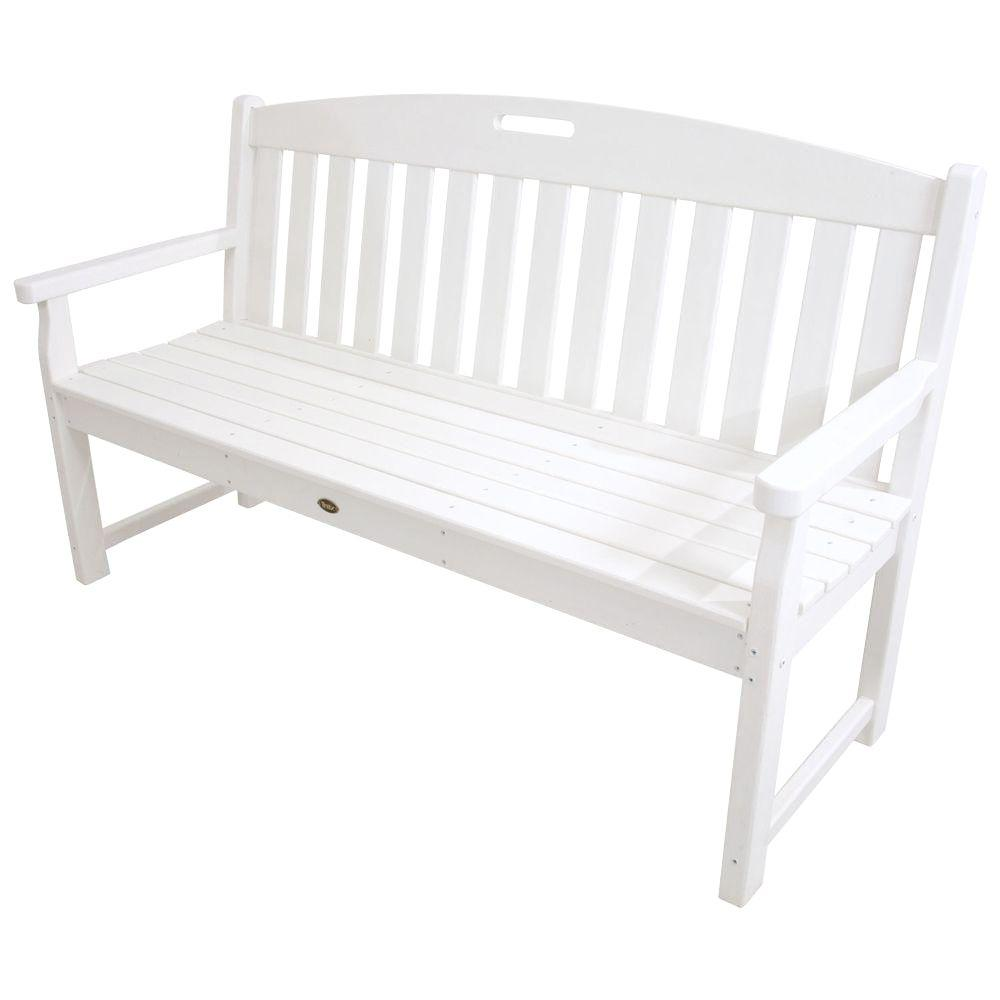 Trex outdoor furniture yacht club 60 in classic white for Outdoor furniture benches