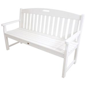 Trex Outdoor Furniture Yacht Club 60 In Classic White Patio Bench Txb60cw The Home Depot