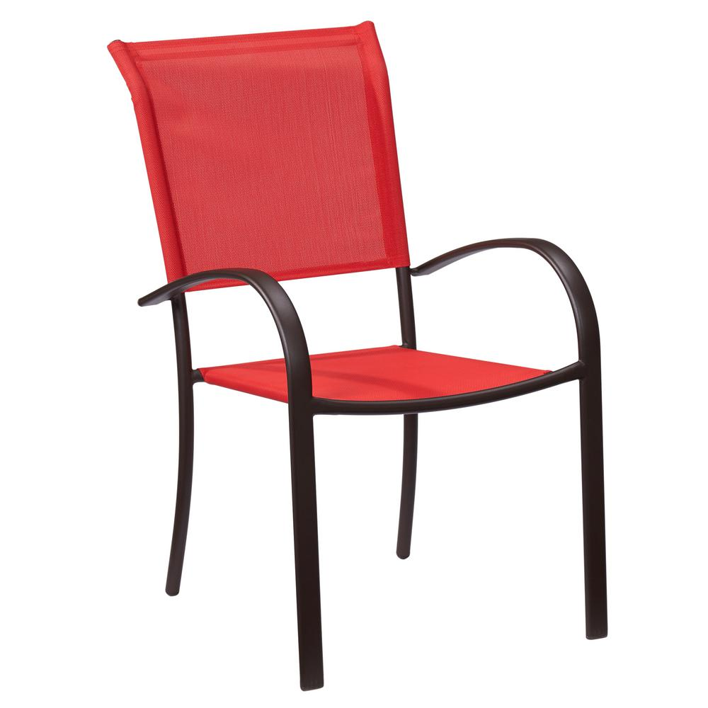 Hampton bay mix and match stackable sling outdoor dining chair in ruby fcs70391 ruby the home depot