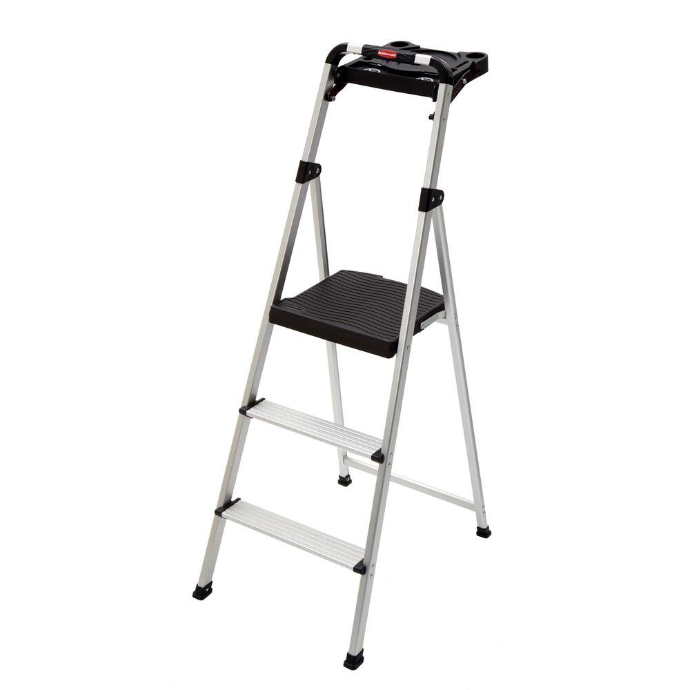 Rubbermaid 3-Step Ultra-Light Aluminum Step Stool with Project Tray 225 lbs.  sc 1 st  The Home Depot & Rubbermaid 3-Step Ultra-Light Aluminum Step Stool with Project ... islam-shia.org