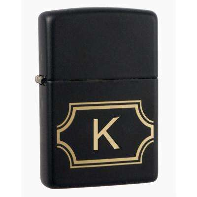 "Black Matte Lighter with Initial ""K"""