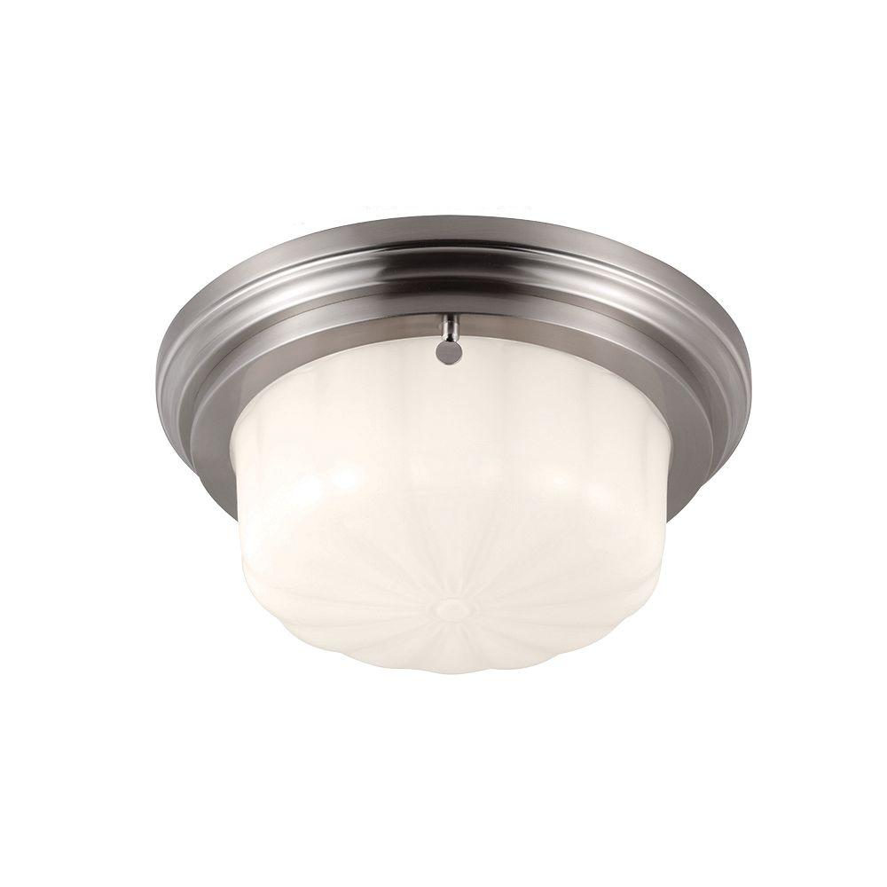 Feiss Portia 1-Light Brushed Steel Flushmount