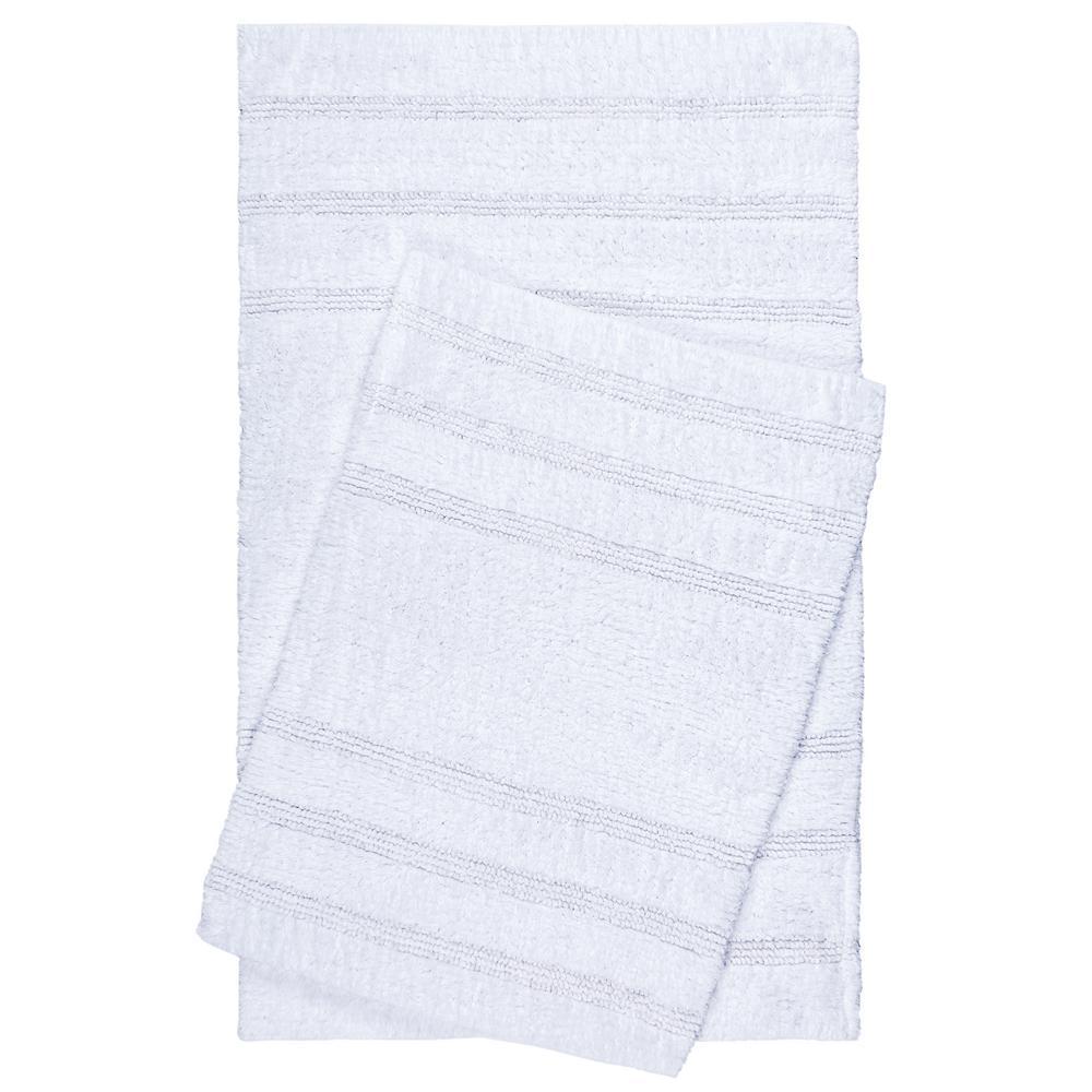 Newton White Stripes 2-Piece (17 in. x 24 in.; 21 in. x 34 in.) Bath Mat Set