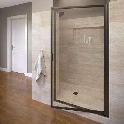 Deluxe 34-1/2 in. x 70-1/2 in. Framed Pivot Shower Door in Oil Rubbed Bronze with AquaGlideXP Clear Glass