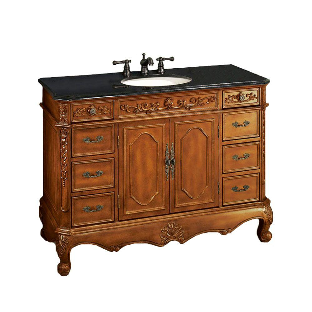 Home Decorators Collection Winslow 48 in. W x 22 in. D Vanity in Antique Oak with Granite Vanity Top in Black