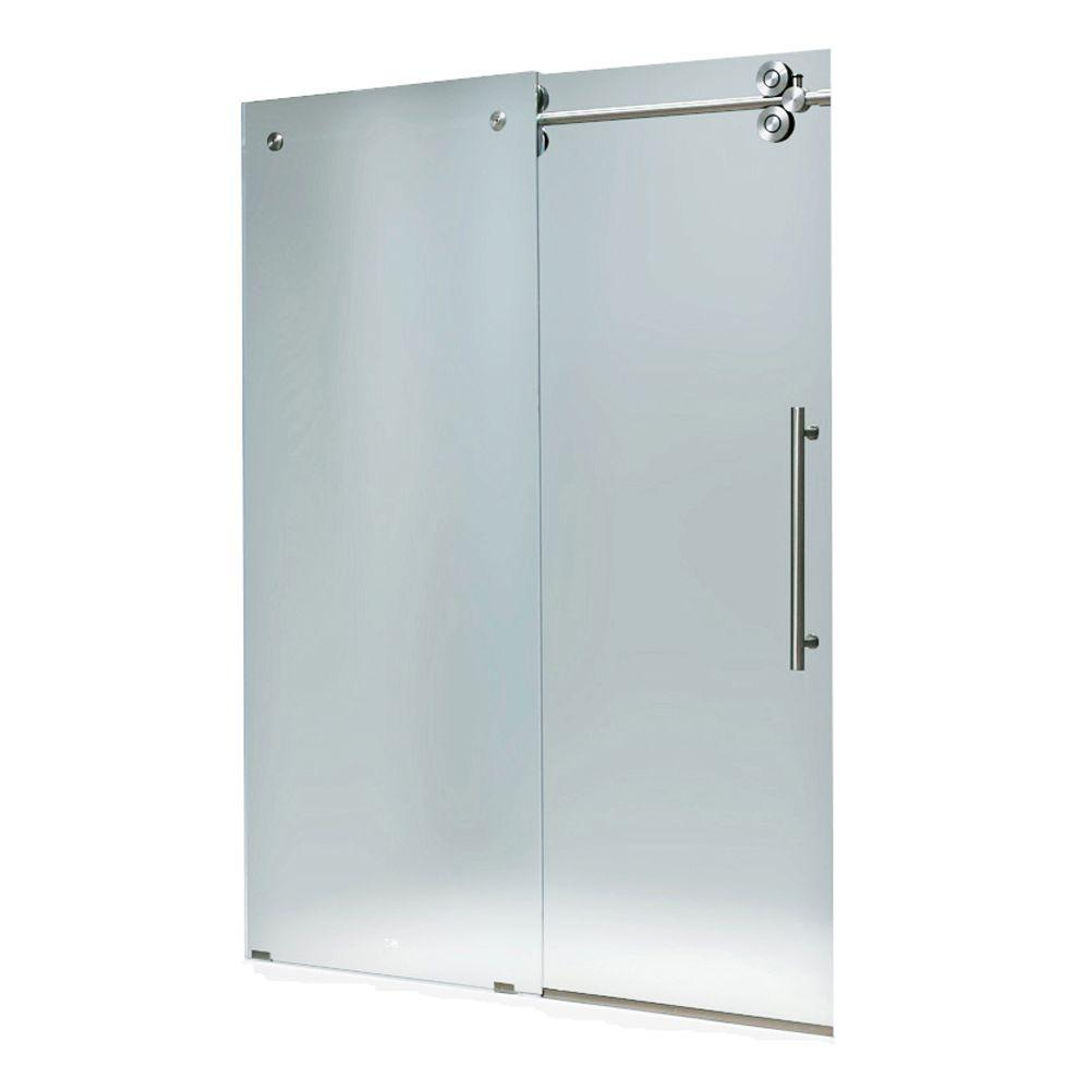 Vigo 60 in. x 66 in. Frameless Bypass Tub Door in Stainless Steel with Frosted Glass
