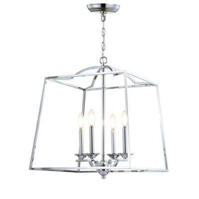 Gloria 19 in. 4-Light Chrome Metal LED Pendant