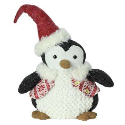 14 in. Small Plush Penguin in Red Nordic Snowflake Vest Christmas Figure