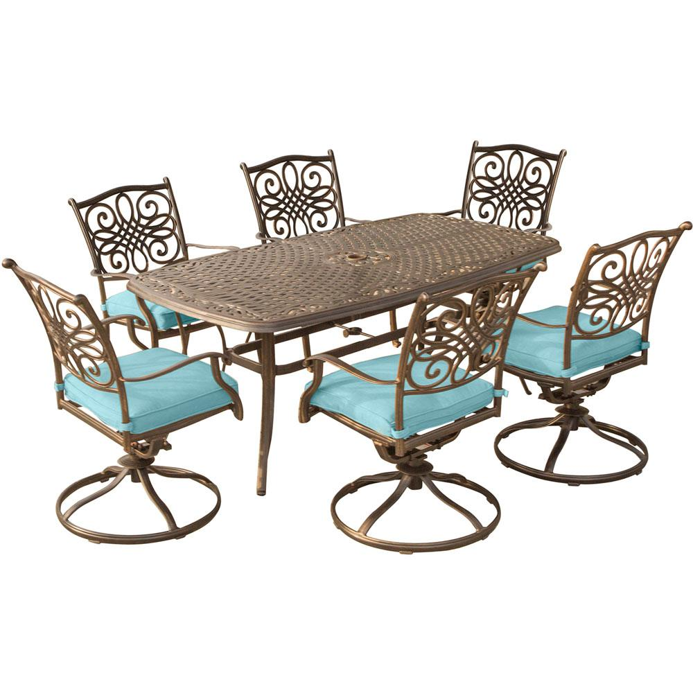 Traditions 7-Piece Aluminum Outdoor Dining Set with Rectangular Cast-Top Table