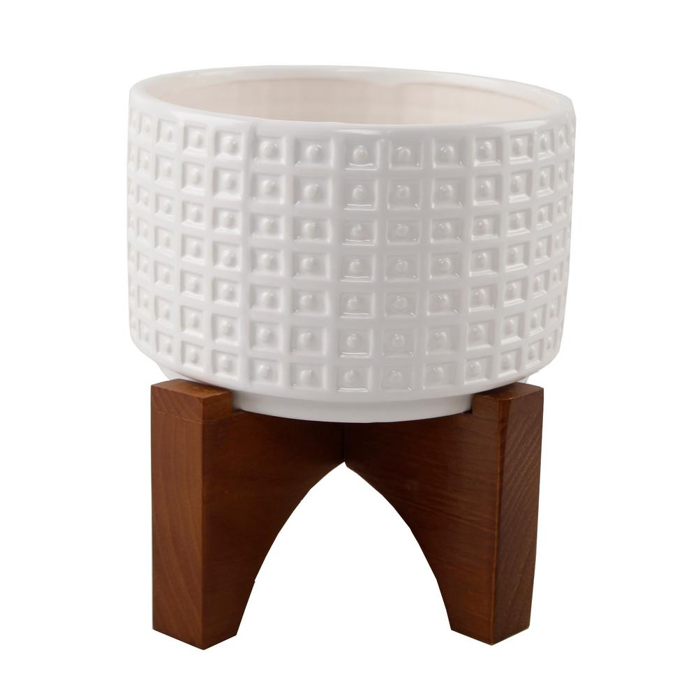 Flora Bunda 7 in. Matte White Ceramic Gladiator Texture Wood Stand Mid-Century Planter