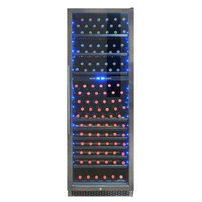 23.88 in. W 215-Bottle Smoked Black Stainless Steel Dual-Zone Wine Cooler