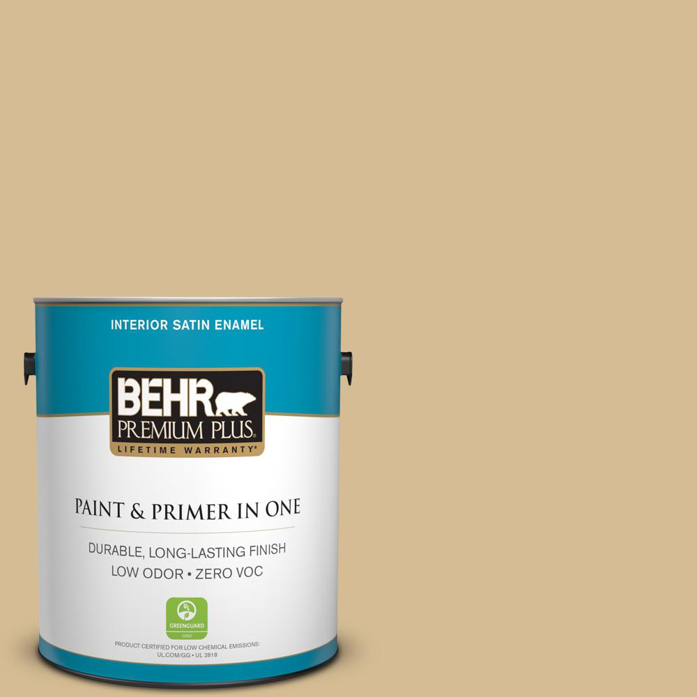 BEHR Premium Plus 1-gal. #330F-4 Pebble Path Zero VOC Satin Enamel Interior Paint