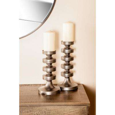 Gray Segmented Column Iron Candle Holders (Set of 3)