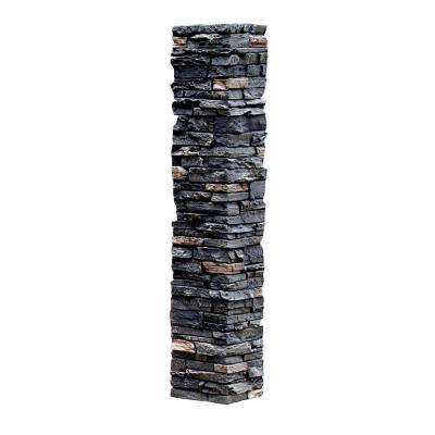 Slatestone 8 in. x 8 in. x 41 in. Midnight Ash Faux Polyurethane Stone Post Cover