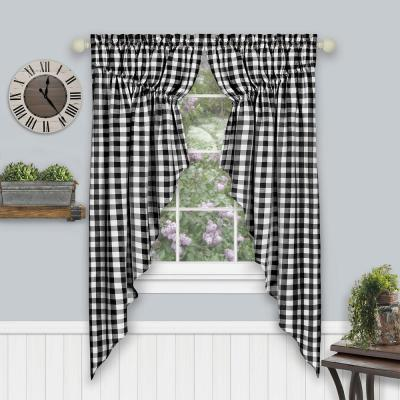 Buffalo Check 72 in. W x 63 in. L Polyester/Cotton Light Filtering Window Panel in Black